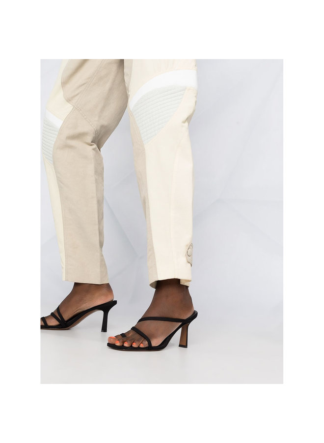 High Waisted Casual Paneled Pants in Vanilla
