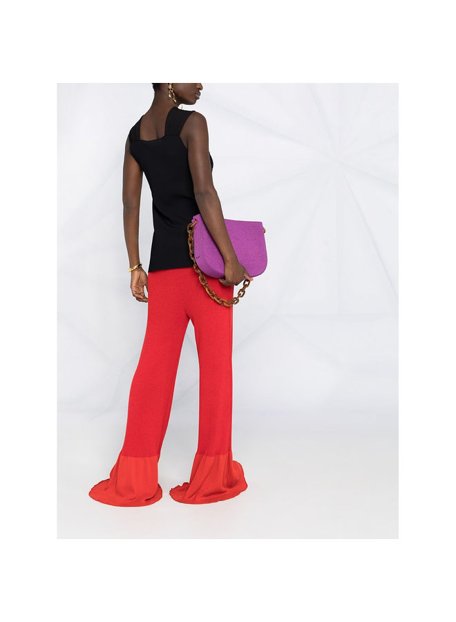 High Waisted Pants in Ribbed Knit in Red