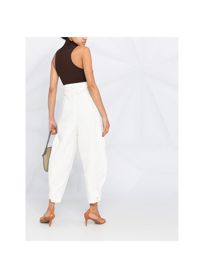 High Waisted Pants in Cotton in Cream