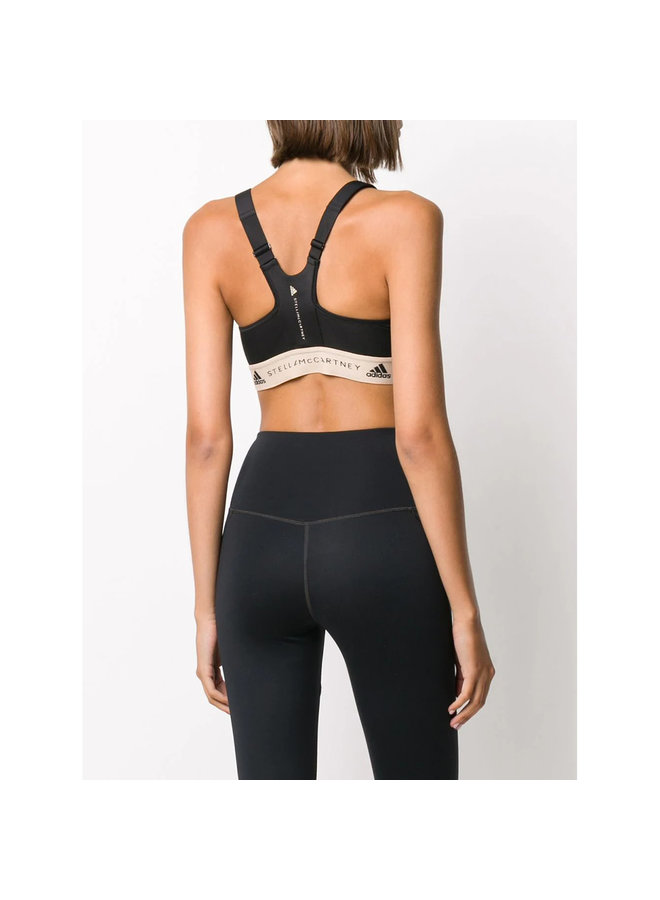 Zip Front Logo Band Sports Bra  In Black