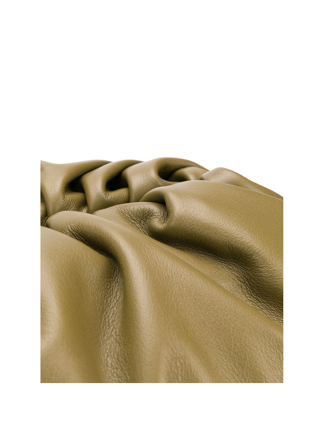 The Pouch Large Clutch Bag in Mud Color Napa Leather