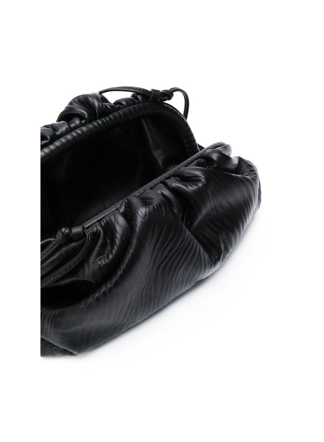 Mini Pouch Bag in Patterned Leather  in Black
