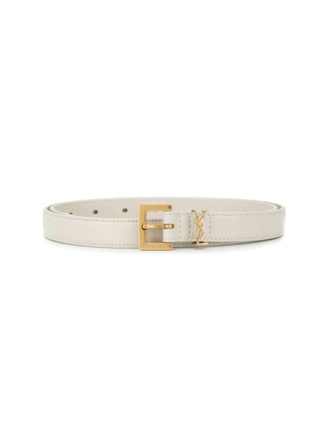 Monogram Leather Belt in Cream