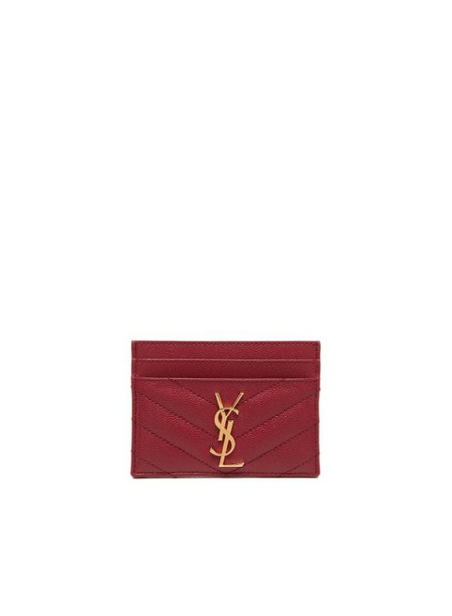 Monogram Card Holder in Leather in Red