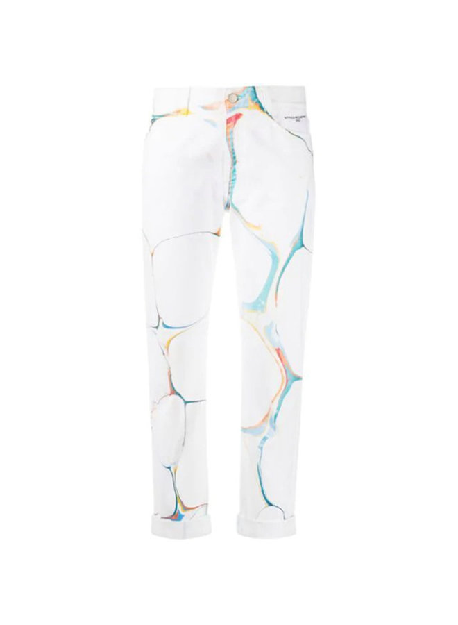 Boyfriend Denim Marble Print Pants