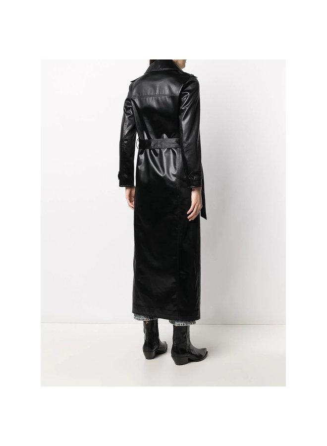 Double Breasted Trench Coat with Belt in Black