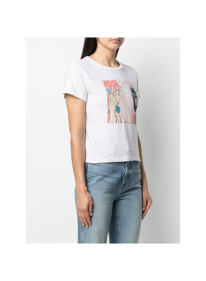 Just Bring Wine Graphic T-shirt in Cotton in Vintage White