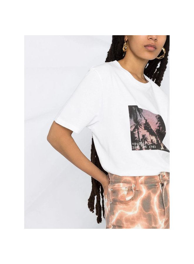 Palm Tree Print T-shirt in Cotton in White