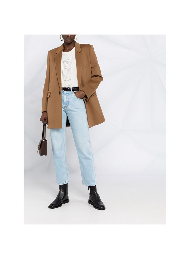 Mid Rise Straight Leg Pants in Denim in Blue