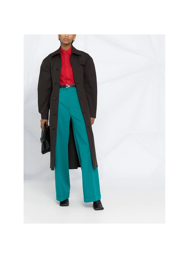 High Waisted Straight Leg Pants in Wool in Duck Green