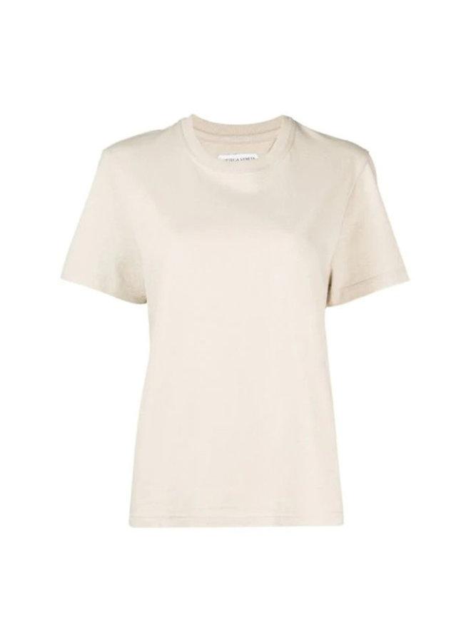 Crew Neck T-shirt in Cotton in Putty