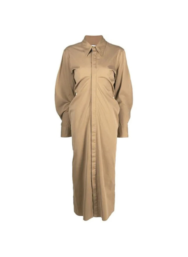 Long Sleeve Midi Shirt Dress in Cotton Silk in Camel