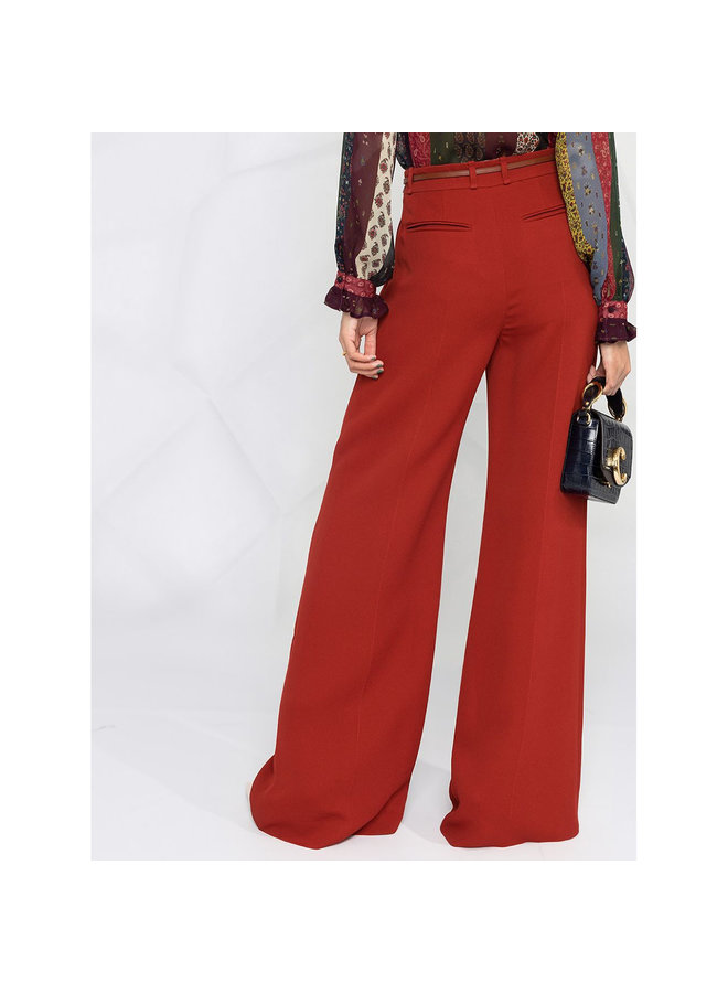 High Waisted Wide Leg Pants in Crepe in Red Ocre