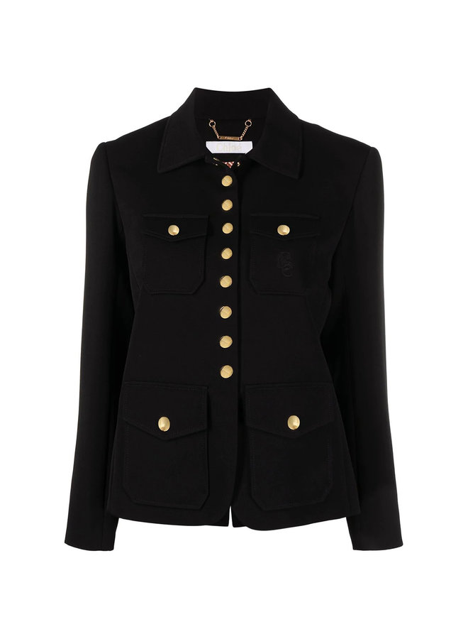 Fitted Button Up Jacket in Silk in Black