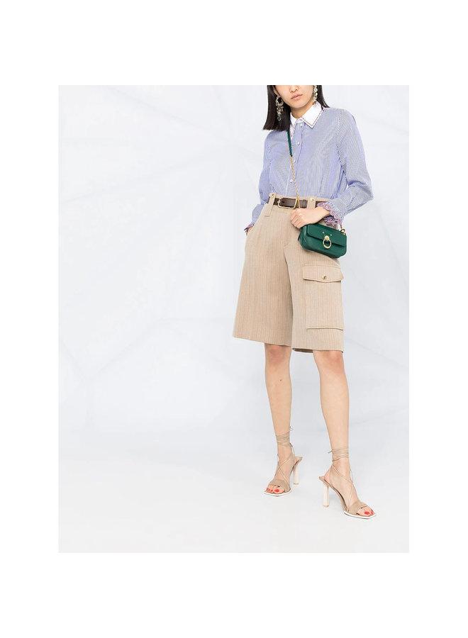 Long Sleeve Stripe Shirt in Cotton in Blue