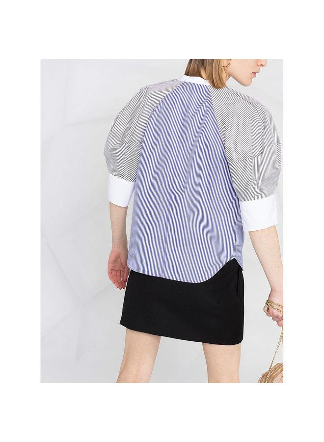 Short Sleeve Stripe Blouse in Cotton in Blue