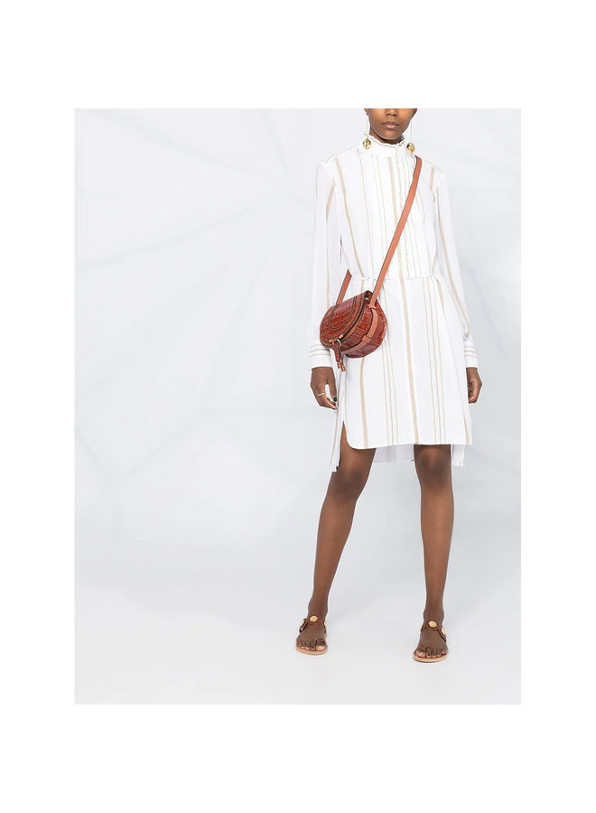 Knee Length Stripped Dress in Cotton in White