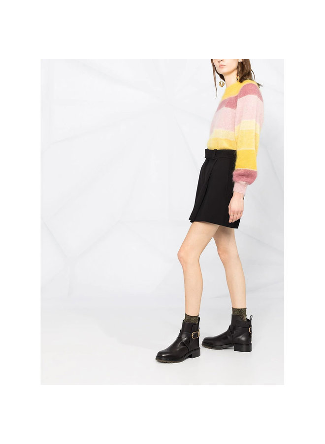 High Waisted Shorts in Silk Viscose in Black