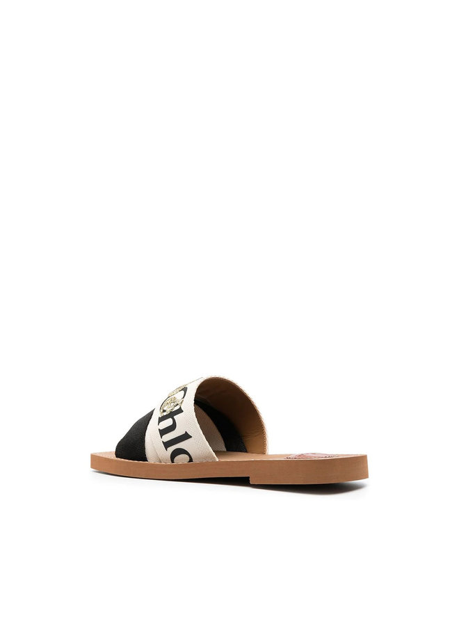 Woody Logo Flat Mules in Canvas in Black - White