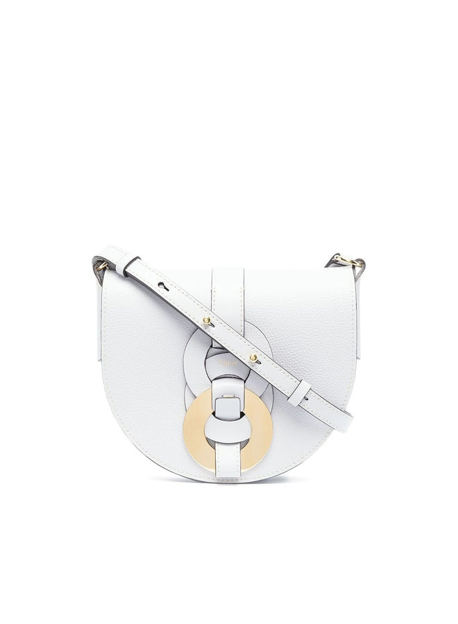 Darryl Small Saddle Crossbody Bag in Leather in Light Cloud