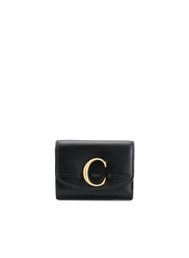 C Mini Trifold Wallet in Leather in Black