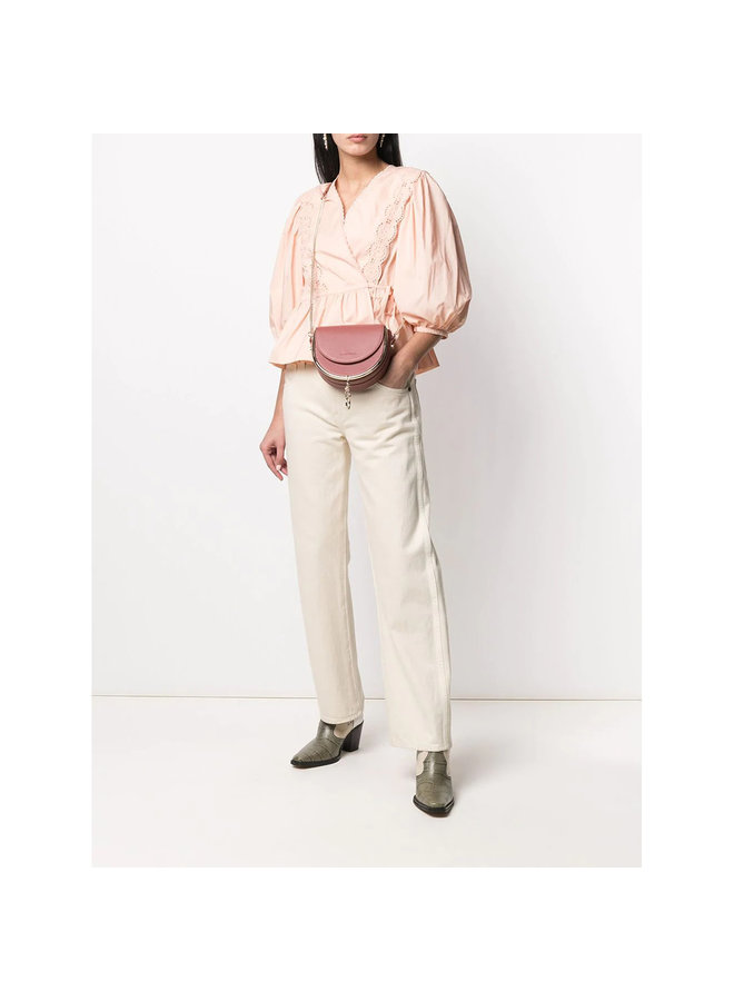 Wrap Blouse with Embroidery in Peach