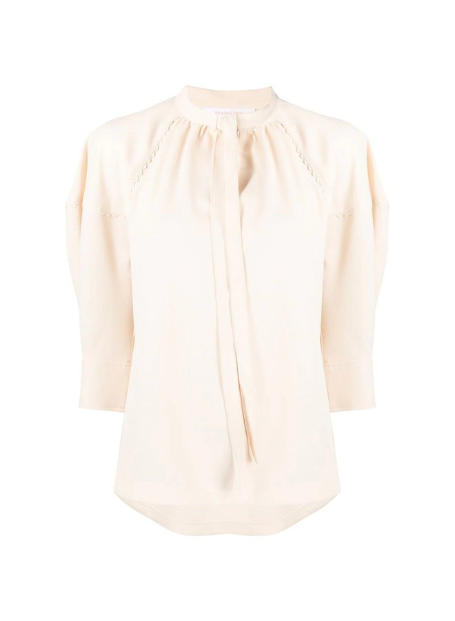 Puff Sleeve Blouse with Tie Up Neckline