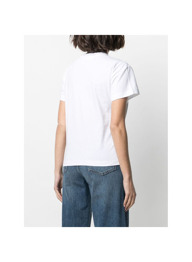 Embroidered Short Sleeve Top in White