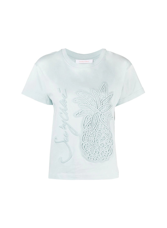 T-shirt with Crochet Pineapple in Acqua