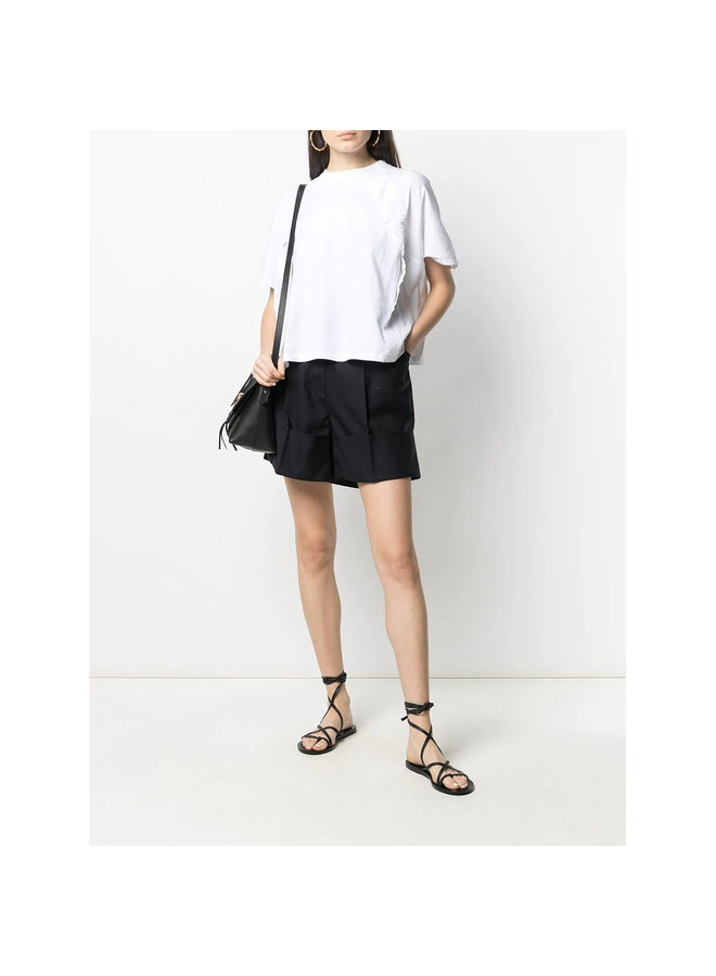 T-shirt with Ruffle Details in White