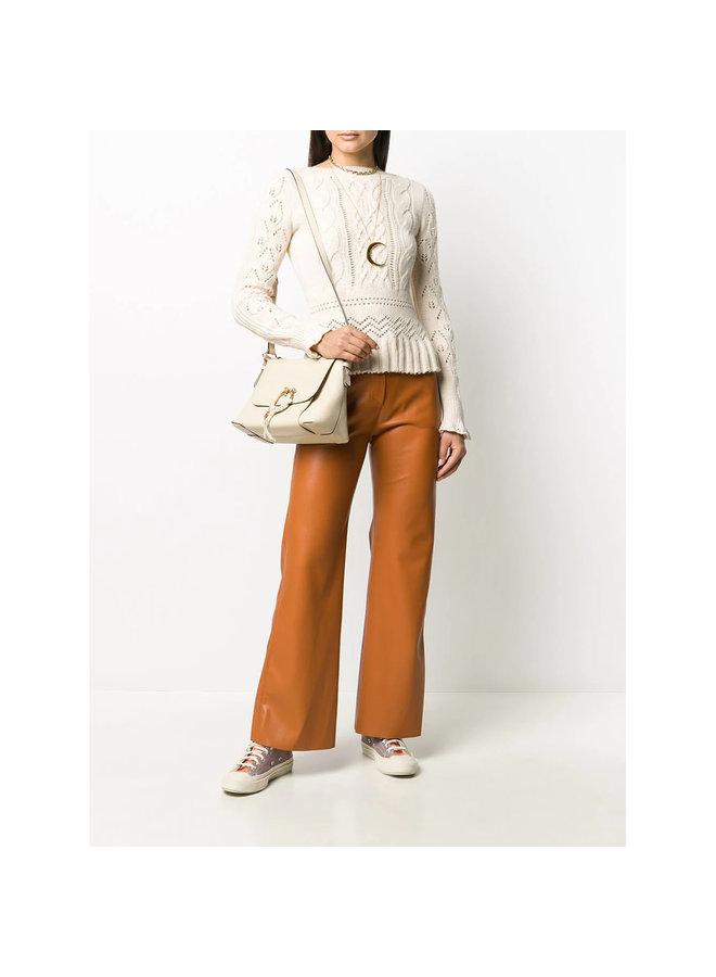 Joan Shoulder Bag in Leather in Cement Beige
