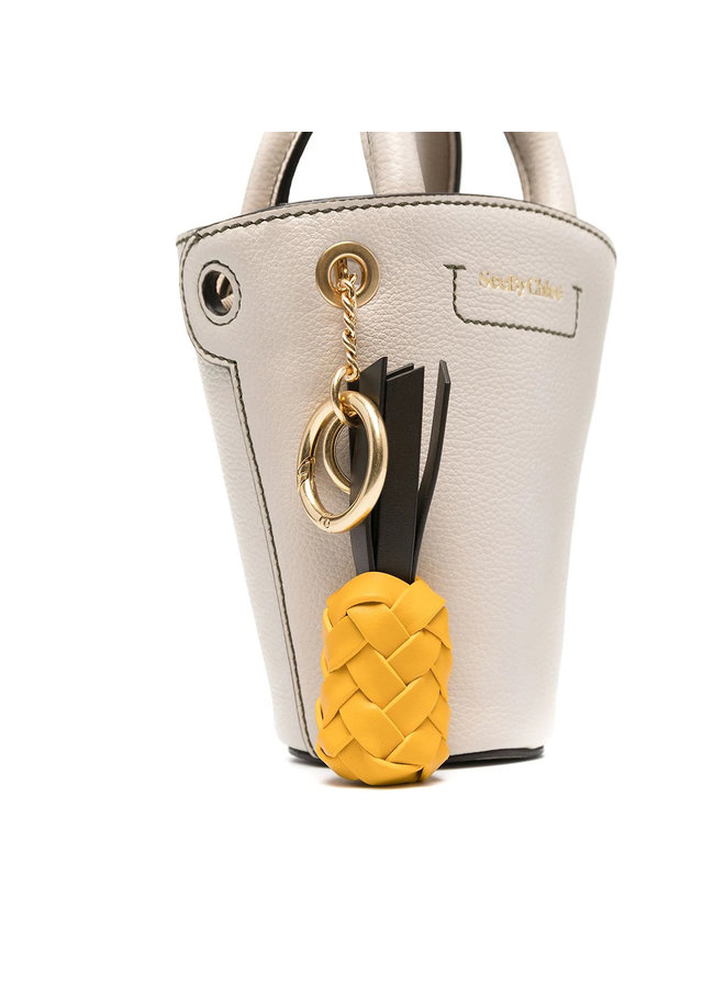 Small Bucket Bag in Leather in Cement Beige