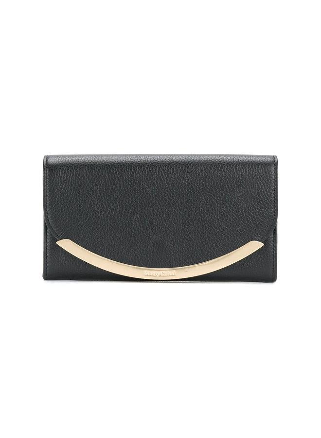 Large Flap Wallet with Metallic Detail