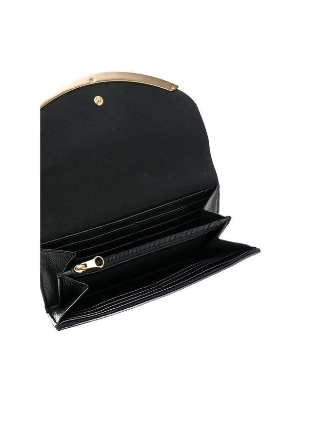 Large Flap Wallet with Metallic Detail in Leather in Black