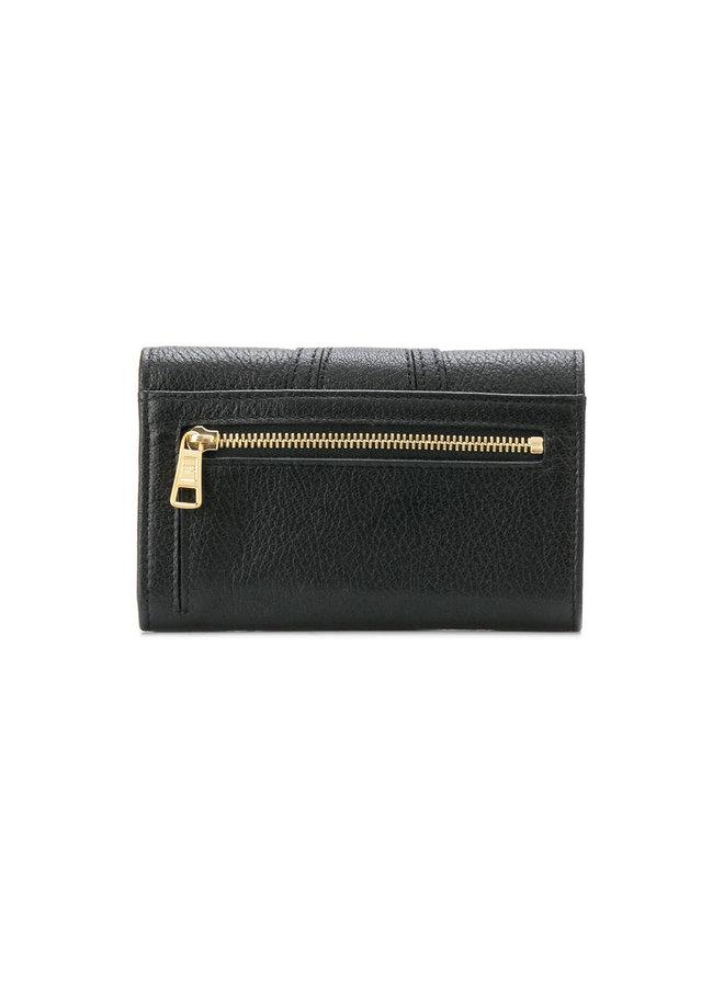 Hana Small Wallet in Leather in Black