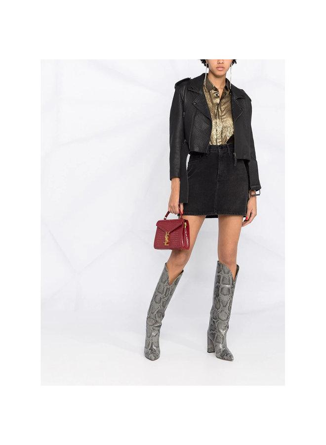 Mini Cassandra Crossbody Bag in Leather in Opyum Red