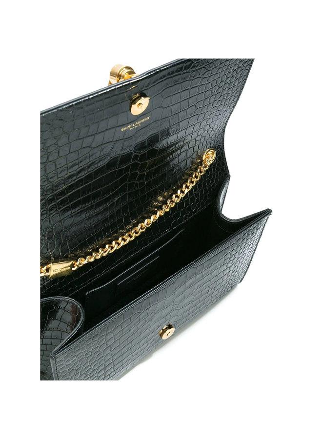 Medium Kate Shoulder Bag in Leather in Black