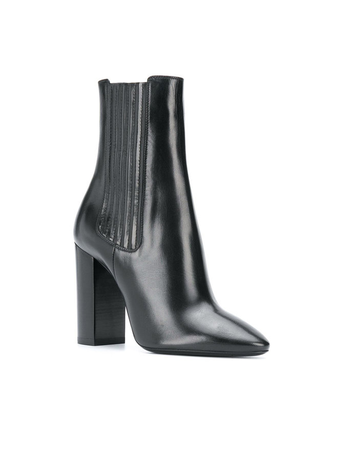 Mica High Heel Ankle Boot in Leather in Black