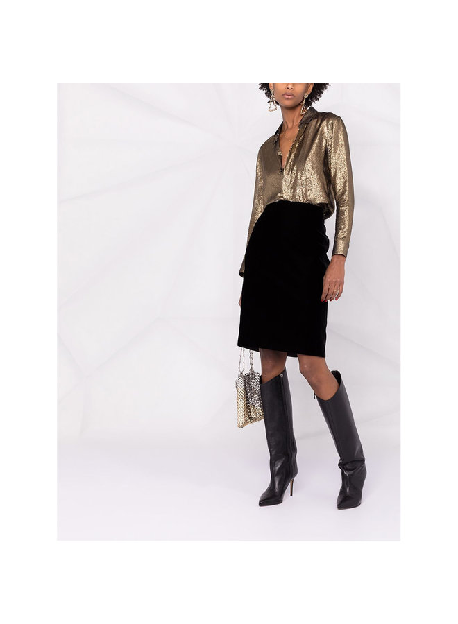 High Waisted Pencil Skirt in Silk in Black
