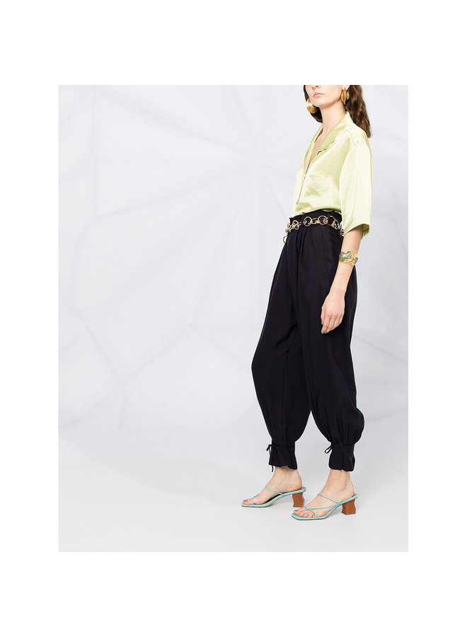 Tapered Balloon Leg Trousers in Black