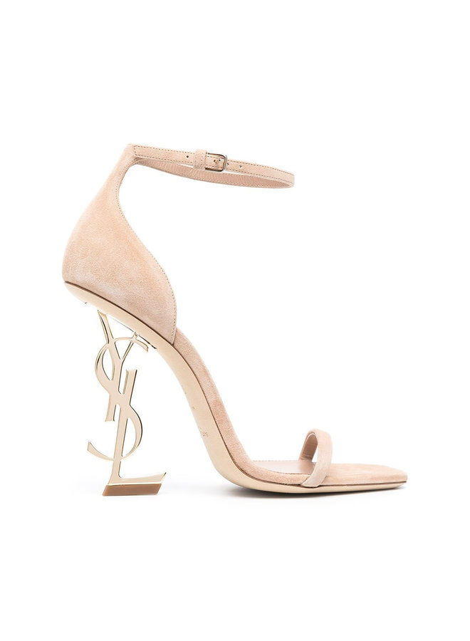 Opyum Logo High Heel Sandals in Suede in Beige