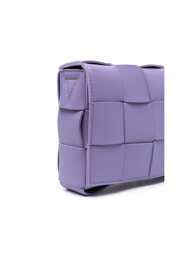 Casette Crossbody Bag in Intrecciato Leather  in Lavender