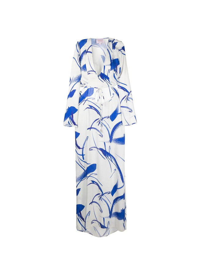Long Sleeve V-neck Printed Gown