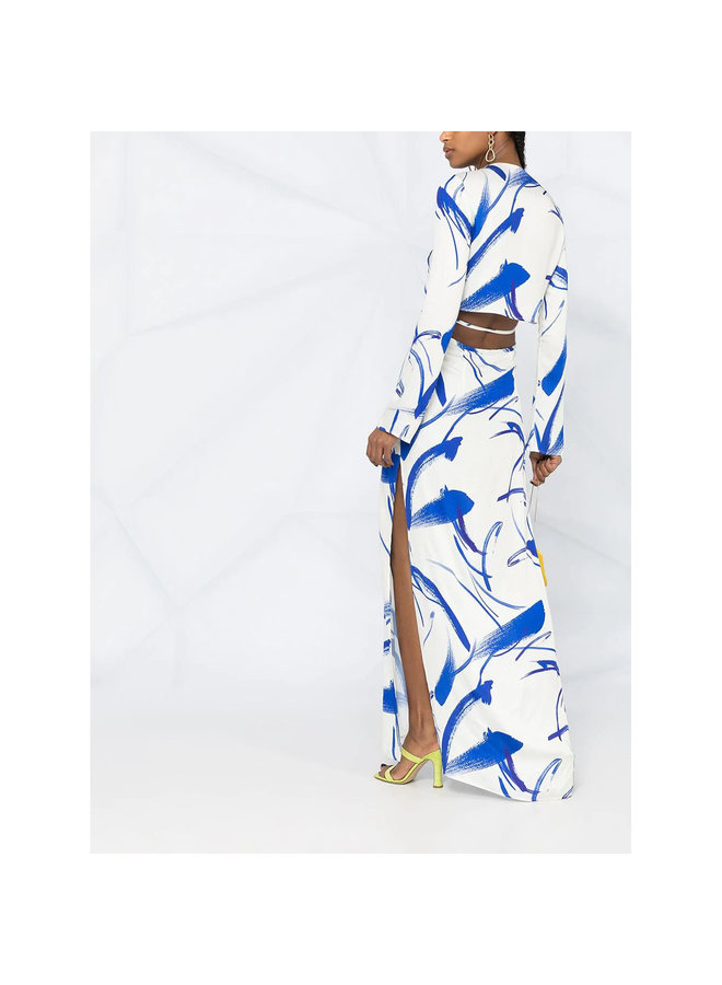 Long Sleeve V-neck Printed Gown in White
