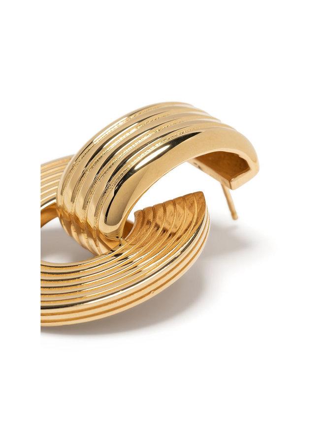 Signore Tube Oval Drop Earrings in Gold