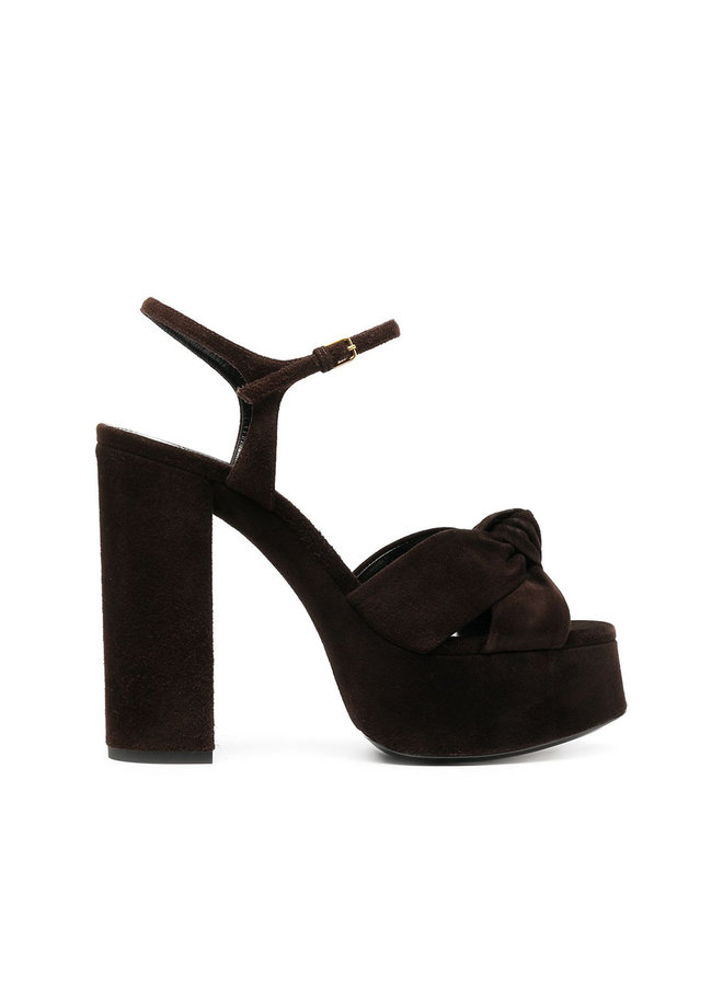 Bianca High Heel Platform Sandals in Suede in Coffee