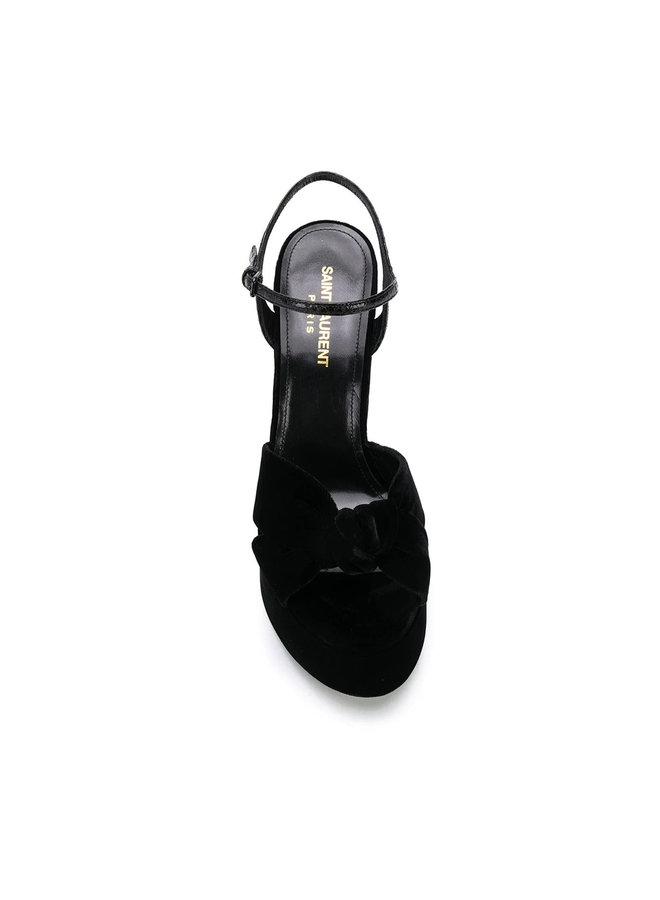 Bianca High Heel Platform Sandals in Velvet in Black
