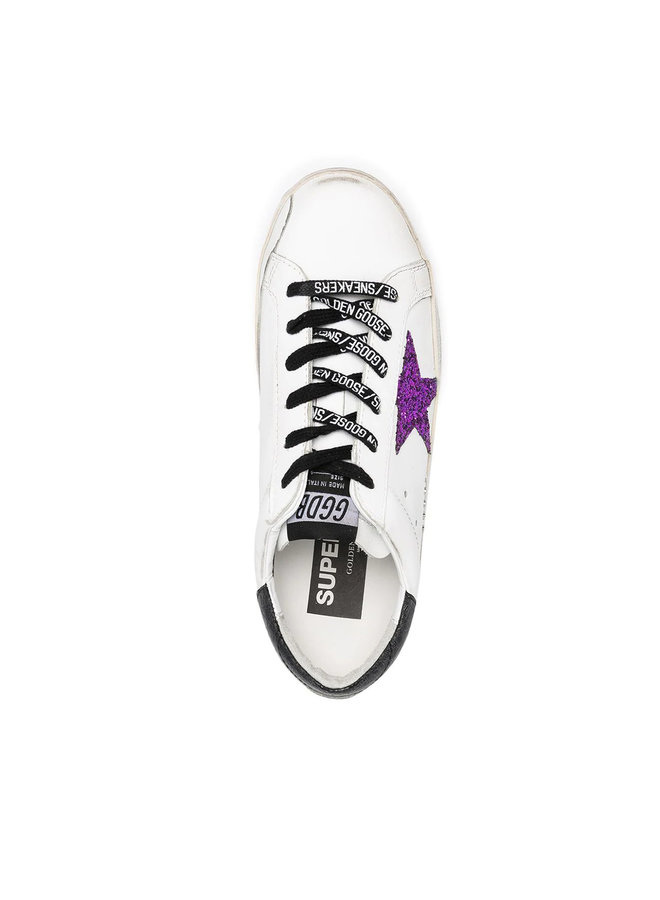 Superstar Low Top Sneakers in Leather in White/Purple