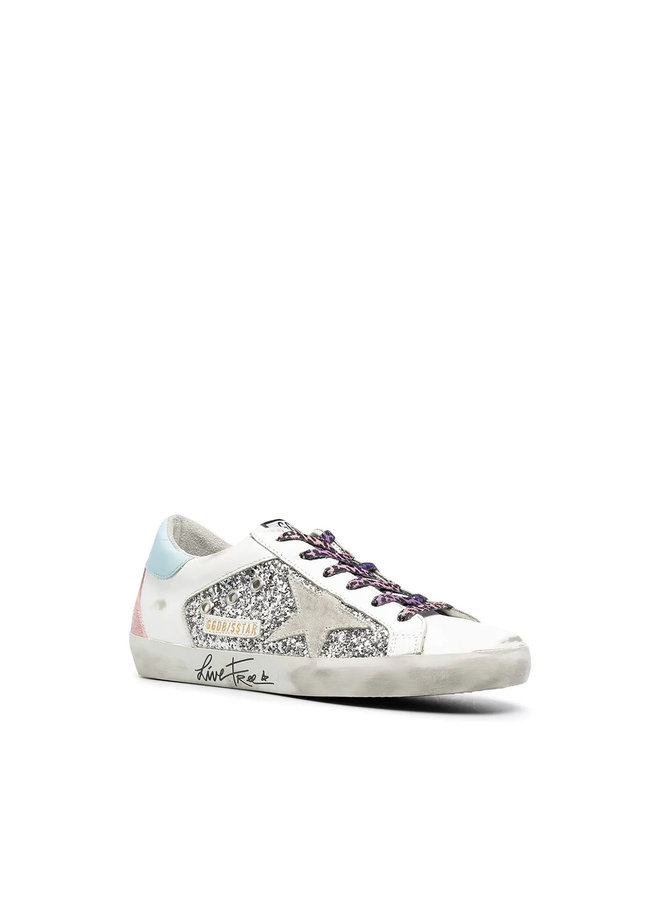 Superstar Low Top Sneakers in Leather in Silver Glitter