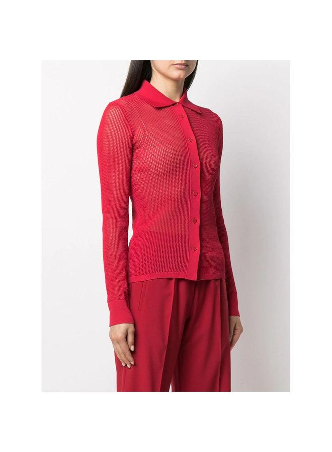 Long Sleeve Mesh Sheer Shirt in Cotton in Nail Polish